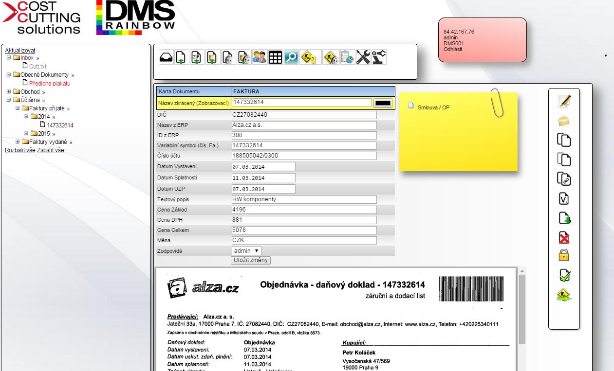Základní obrazovka DMS RAINBOW metadata (košilka) připojené dokumenty